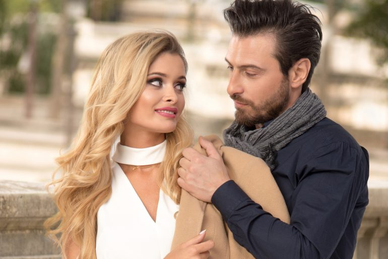 Romantic couple in Paris dating